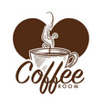 coffee cup with hot steam coming from tasty vector image