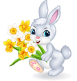 Cute bunny holding beautiful flower vector image
