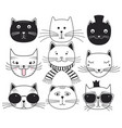 cute cat heads vector image