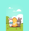 cute rabbits with egg wearing mask to prevent vector image vector image