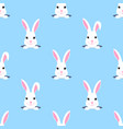 easter bunny looks out hole rabbit child vector image vector image