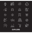 explore editable line icons set on black vector image
