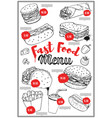fast food menu cover layout with hand drawn of vector image vector image