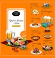german cuisine restaurant lunch menu template vector image vector image
