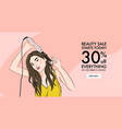 girl curling hair wih iron fashion woman with vector image