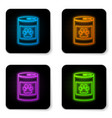 glowing neon canned food icon isolated on white vector image vector image