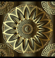 gold 3d floral greek seamless mandala pattern vector image vector image