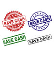 grunge textured save cash stamp seals vector image vector image