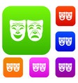 happy and sad mask set collection vector image vector image