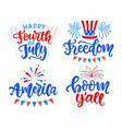 happy fourth july hand written lettering set vector image vector image