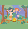 happy women campfire trees chairs landscape vector image