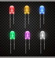 light emitting bright diode realistic style set vector image