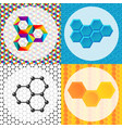 linear hexagon brochure cards design vector image
