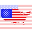 Map of United States of America with flag vector image vector image