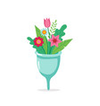 menstrual cup with flowers eco sustainable vector image vector image