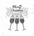 merry christmas retro template with champagne vector image vector image