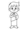 moslem boy hajj greeting bw vector image vector image