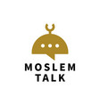 moslem talk chat bubble logo icon vector image vector image