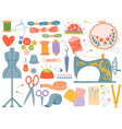 needlework tools various sewing tool and supplies vector image