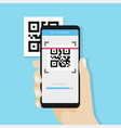 qr code scanning with mobile phone vector image vector image