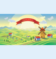 rural landscape with a mill and a ribbon with the vector image vector image