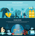 scuba diving horizontal banners vector image