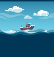 sea steam boat on the waves vector image vector image