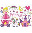 Set of isolated cute princess and design elements