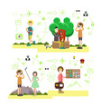 set tourist people symbols in flat vector image vector image