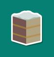 sweet dessert in paper sticker piece of cake vector image vector image