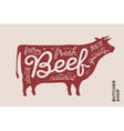Trendy poster with red cow silhouette vector image vector image