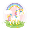 unicorn cute character standing on grass vector image
