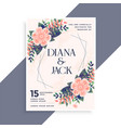 wedding invitation card design with floral vector image vector image