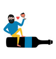 with bearded man sitting on black bottle vector image vector image