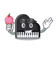 with ice cream piano character cartoon style vector image