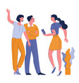 young women in casual clothes saying hello vector image