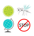 Virus Zika icon set Mosquito Cute cartoon insect vector image