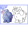 Coloring page Happy blue elephant raised his trunk vector image