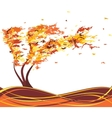 Autumn grunge tree in the wind vector image