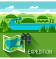 Background with of river landscape vector image