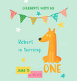birthday baby card with fox and number one vector image vector image