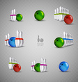 Bowling skittles and bowls as design elements vector image vector image