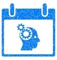 Brain Gears Calendar Day Grainy Texture Icon vector image vector image