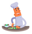 Cartoon chef cuts the vegetables for salad vector image