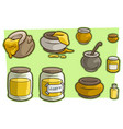 cartoon jar cup with honey icon set vector image