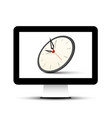 Clock on computer screen icon vector image