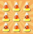 collection of cartoon candy corn smileys vector image vector image