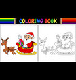 coloring book cartoon santa claus riding his reind vector image vector image