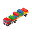 consolidated freight isometric red large truck vector image