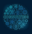consulting round blue outline vector image vector image